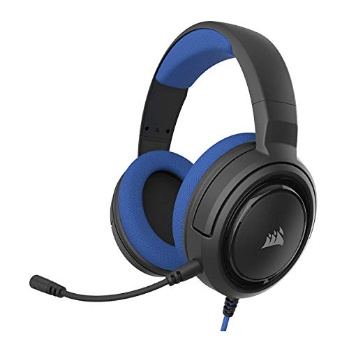 - Corsair HS35 - Stereo Gaming Headset - Memory Foam Earcups - Headphones Designed for Playstation 4 (PS4), PC and Mobile - Blue