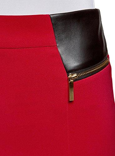 en oodji Zips Empicements Collection Similicuir avec et Femme Jupe Rouge 4500n Dcoratifs 1q8HZ1w