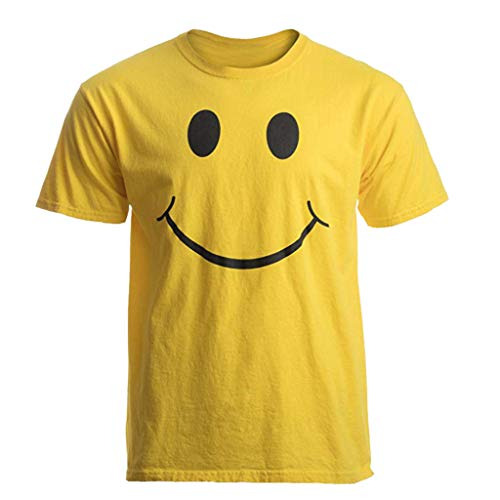 DFHYAR Men's Funny Casual Crew Neck Short Sleeve Graphic Smiley Face T - T-shirt Smiley Yellow
