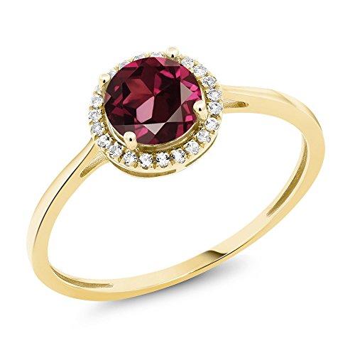 10K Yellow Gold Diamond Engagement Ring Round Red Rhodolite Garnet (Size 6) - Rhodolite Garnet Birthstone Ring