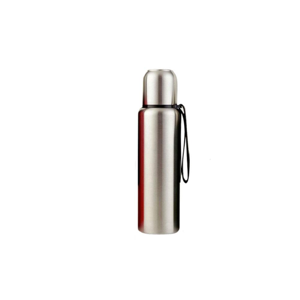 8haowenju Thermos Cup,Portable Stainless Steel Thermos+Spiral Cup Lid+Hand Strap+The Lid Can Be Used As A Cup+Suitable for Bicycle and Car Cup Holders+Black/Green/Red/Silver+500ml/750ml/1000ml/