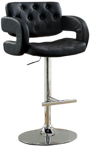 Furniture of America Persilla Tufted Leatherette Swivel Bar Stool, Black