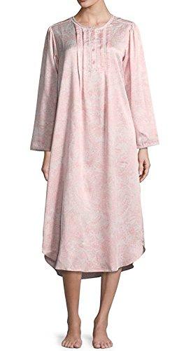 Miss Elaine Back Satin Paisley Long Sleeve Nightgown (Pink/Natural Paisley, (Miss Elaine Satin Nightgown)