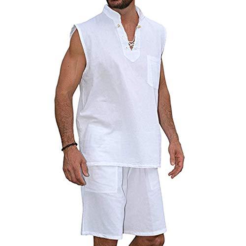 OrchidAmor Men's Fashion T-Shirt Tee Hippie Shirts Short Sleeve Beach Shirt Shorts Suit White -