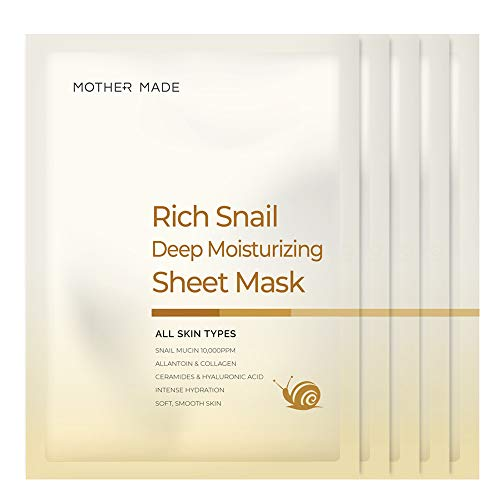 MOTHER MADE Rich Snail Deep Moisturizing Full Face Sheet Mask with Snail Mucin 10,000 ppm, Collagen, Vitamin C - Hydrating, Anti-aging, Anti-Wrinkle, Oil-free, Paraben-free, Unscented, Pack of 5 (Collagen Snail Mask)