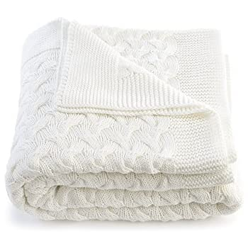 Soft 100% Cotton Throw Blanket, Knit Crochet Sweater Texture, for Couch Sofa Bed, White 51 x 67 Inch