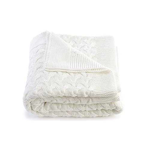 Soft 100% Cotton Throw Blanket, Knit Crochet Sweater Texture, for Couch Sofa Bed, White 51 x 67 Inch (Crocheted Baby White Blanket)