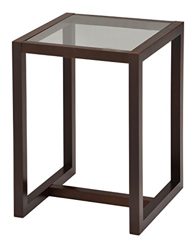 Kings Brand Furniture Dakota Wood End Table With Glass Top, Walnut