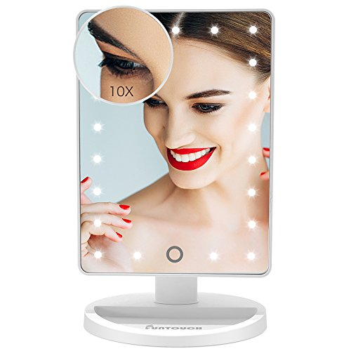 Makeup Vanity Mirror, FUNTOUCH Lighted Vanity Mirror with 21 LED Lights and Touch Screen Dimming, Detachable 10X Magnification Spot Mirror, Battery Powered High Definition Clarity Cosmetic Mirror