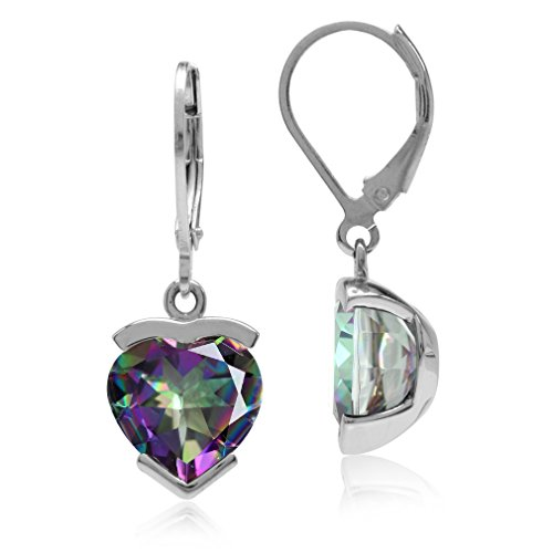 8.2ct. Heart Shape Mystic Fire Topaz White Gold Plated 925 Sterling Silver Leverback Dangle ()