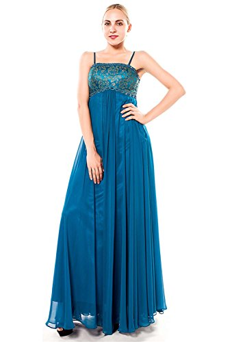 Fanhao Women's Straps Floral Lace Bust Empire Chiffon A-line Long Maxi Dress,Aqua,S