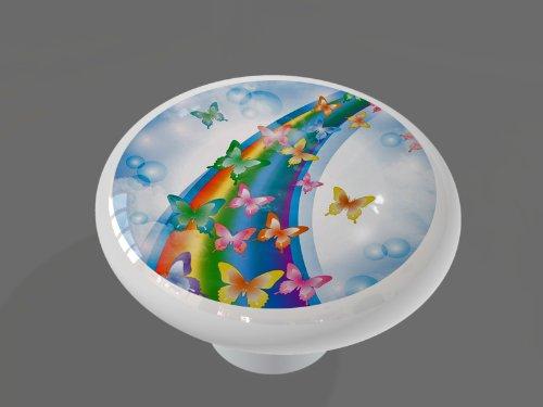 Rainbow Butterfly Cloud High Gloss Ceramic Drawer Knob