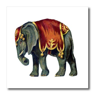 3dRose ht_41554_1 Vintage Circus Elephant Iron on Heat Transfer, 8 by 8-Inch ()