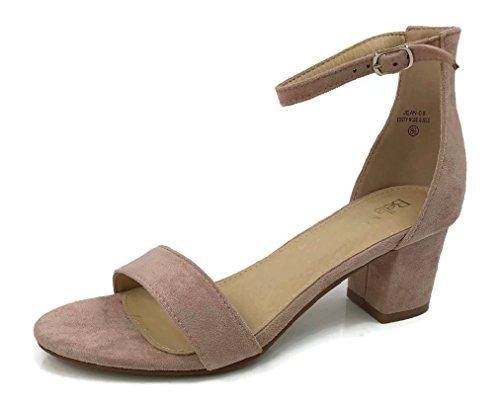 (Bella Marie Classified Chunky Block Heel Dress Sandal Over Toe & Ankle Wrap Strap, Dusty Rose, 8.5)