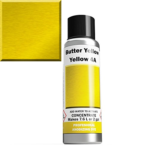 (Professional Aluminum Anodizing Dyes | Yellow 4A | Light to Rich Yellow | Powder Concentrate Makes 7.6 liters Or 2 Gallons)