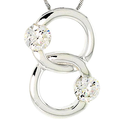 (Sterling Silver Overlapping Circles Pendant w/ 6mm CZ Stones, 1 inch (25 mm) tall)