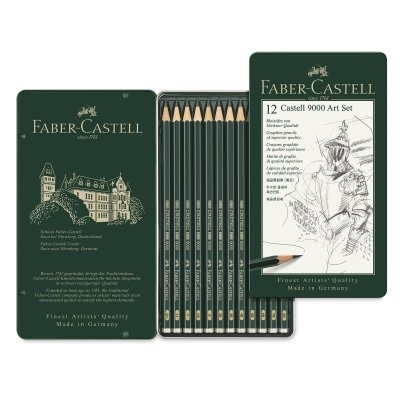 Faber-Castell 9000 Graphite Sketch Pencil Sets Art 8B - 2H set of 12 by Faber-Castell