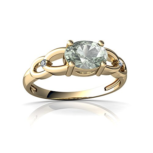 14kt Yellow Gold Green Amethyst and Diamond 7x5mm Oval Links Ring - Size 4