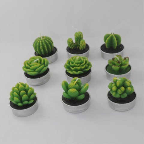 UUsave 12 Pcs Cactus Tealight Candles Decor Handmade Delicate Succulent Cactus Candles for Valentine's day Birthday Party Wedding Spa Living Room Home Decoration (12) by UUsave (Image #6)