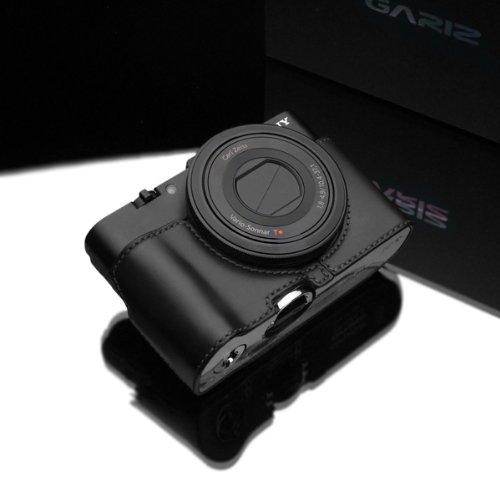 Gariz Genuine Leather XS-RX100IIBK2 Camera Metal Half Case for Sony RX100II DSC-RX100II RX100M2 with AG-R1 Grip, Black