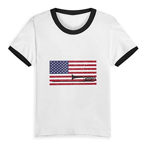 TREEWw Silhouette of Trombone Saxophone Flag Unisex Baby Classic Tee Short-Sleeve T-Shirt