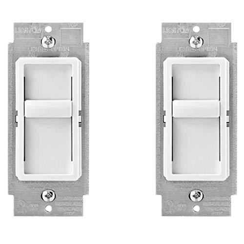 (Leviton 6672-1LW SureSlide Universal 150W LED/CFL Incandescent Slide-To-Off Dimmer, White (2 pack))