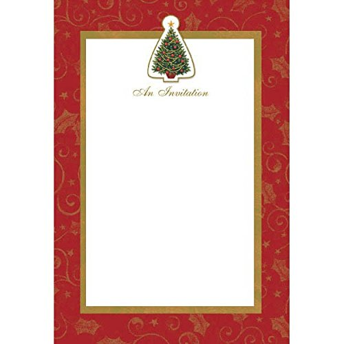 Amscan Twinkling Tree Single Panel Imprintable Christmas Party Invitation Cards Supply (Pack Of 12), Red/Green, 8 3/4