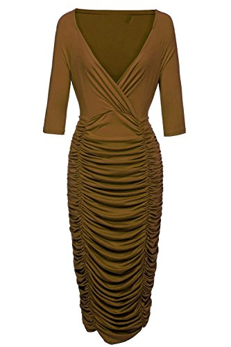 VIISHOW Womens Plus Size Deep V Neck Wrap Ruched Waisted Bodycon Dress XL Coffee