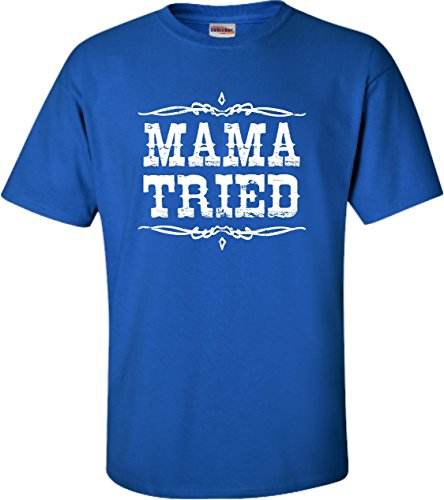 Go All Out X-Large Royal Blue Adult Mama Tried Retro Country Music T-Shirt