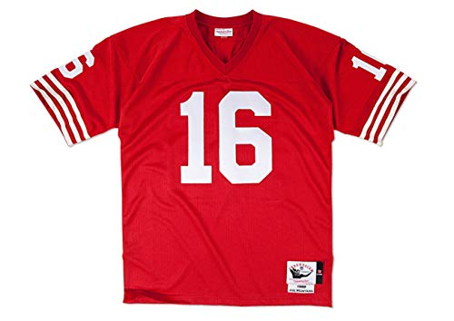 (Mitchell & Ness Joe Montana 1989 Authentic Jersey #16 San Francisco 49ers Red (Red, L))