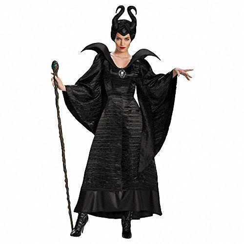 Women's Sexy 3 PCS Maleficent Witch Queen Halloween Costume Adult Party Fancy Cosplay Costume Dress