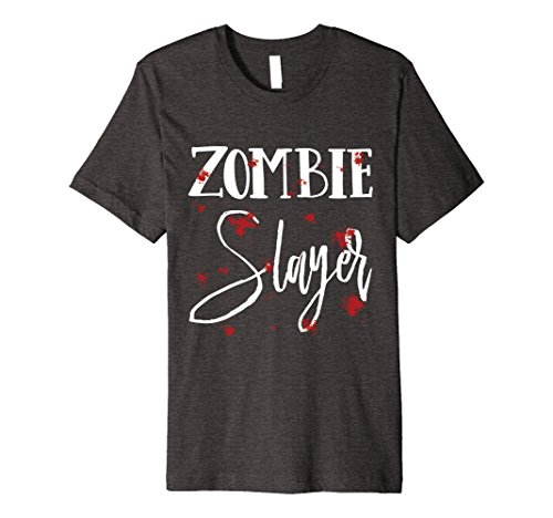 Zombie Slayer Costume Men (Mens Halloween Costume Zombie Slayer Bloody T-Shirt Medium Dark Heather)