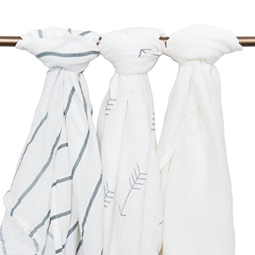 Muslin-Baby-Swaddle-Blankets-44x44-3-Pack-White-Arrows-Stripes-GreyWhite-Small-Winks-Large-Muslin-Swaddles-Baby-Receiving-Blanket-Swaddle-Wrap-Blankets-for-Babies