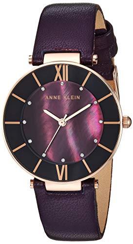 Anne Klein Women's AK/3272RGPL Swarovski Crystal Accented Rose Gold-Tone and Dark Plum Leather Strap Watch