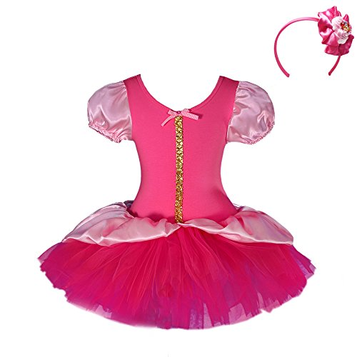 Dressy Daisy Girls' Sleeping Beauty Sequin Fairy Costume Fancy Dress + Headband Ballet Tutu Dancewear Size 4T-5 Hot Pink