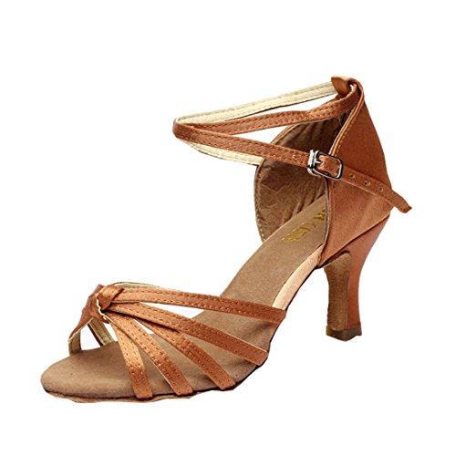 Schuhe Latein 5 7cm Absatz Mädchen DorkasDE Damen Latein Ballsaal Absatz Tanz Tanzschuhe mit Tanzschuhe Braun 7cm qUxt8xwB1