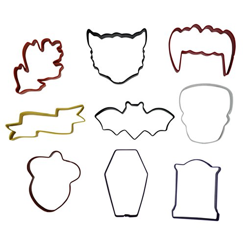 Wilton Color-Coated Metal Cookie Cutters For Halloween And Fall, 9-Count -