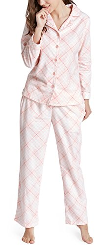 Pants Lounge Printed Flannel (Pajamas for Women, Pink Plaid Women's Pajama Set - 100% Cotton Flannel Shirt and Pants Ladies Pjs M)
