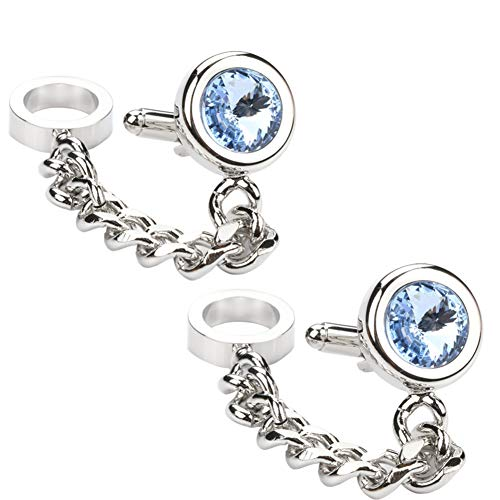 - Men's 2PCS Rhodium Plated Cufflinks Silver Shirt Wedding Business 1 Pair Silver Chain & Blue Crystal With (Silver)