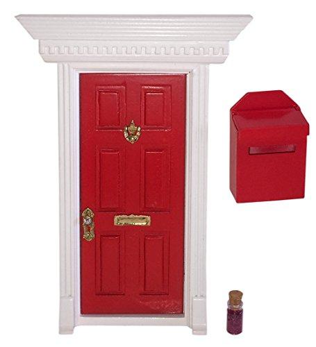 Enchanted Fairy Door (Red) Mailbox and Magic Dust Gift Set Tooth Fairy or Elf … (Door Pixie)