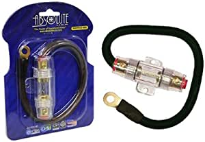 Absolute AGHPKG4BK 4 Gauge Power Cable and In-Line Fuse Kit (Black)
