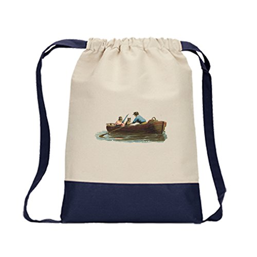 Canvas Backpack Color Drawstring Couple And A Dog In Boat By Style In Print | Navy by Style in Print