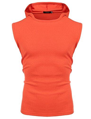 Hasuit Men's Casual Hooded Sleeveless Tank Tops Cotton Sleeveless T-shirts