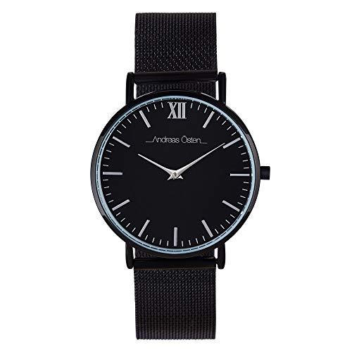 Andreas Osten Unisex Quartz Watch 36 mm Black Dial and Silver Mesh Bracelet AOW18005
