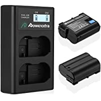EN-EL15 Powerextra 2 Pack Replacement batteries and Dual USB Battery Charger with LCD Display for Nikon D7100, D750, D7000, D7200, D7500, D810, D610, D800, D850, D600, D500, D800e, D810a, 1v1 Cameras