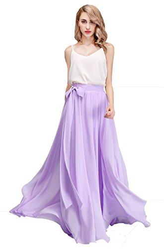 Honey Qiao Women's Chiffon Maxi Skirt Bridesmaid Dresses Long High Waist Floor/Ankle Length Elastic Woman Dresses with Belt Lilac