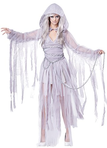 (UHC Women's Beautiful Ghost Haunting Beauty White Halloween Dress, S)