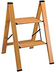 Delxo Wood Grain 3 Step Ladder with Handles Lightweight Aluminum Folding Step Stool Stepladders Home and Kitchen Step Ladder Anti-Slip Sturdy and Wide Pedal Ladders 330lbs Capacity Space Saving (3 feet)