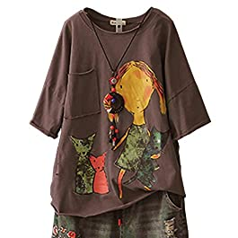 Women's Casual Loose Tee T-Shirts Tops Cartoon Printed Rolled Hem Ripped Short Sleeve Pocket
