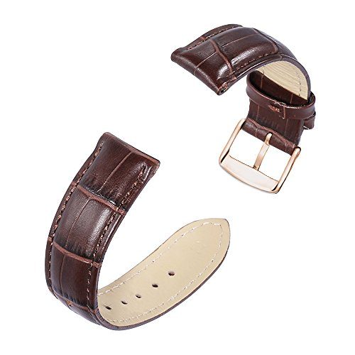 iStrap 20mm Calfskin Replacement Watch Band With Rose Gold Pin Buckle for Men Women - Brown by iStrap (Image #3)